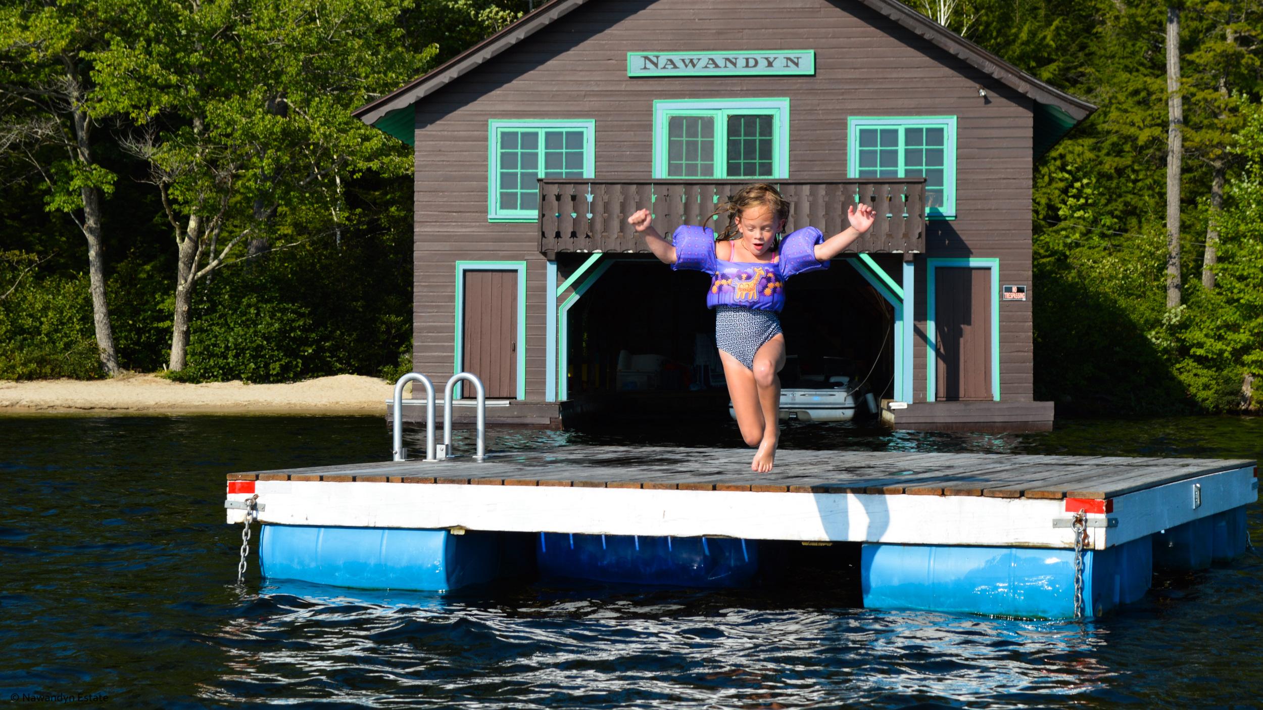 Sheer Joy -- jumping into warm, clear Highland Lake