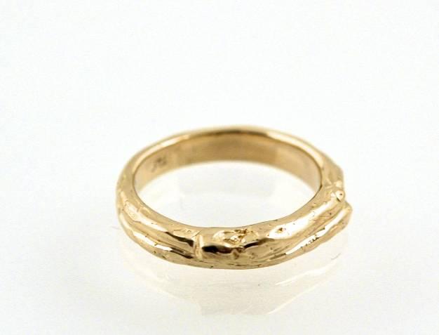 14K Yellow Gold Man's Twig Wedding Ring.