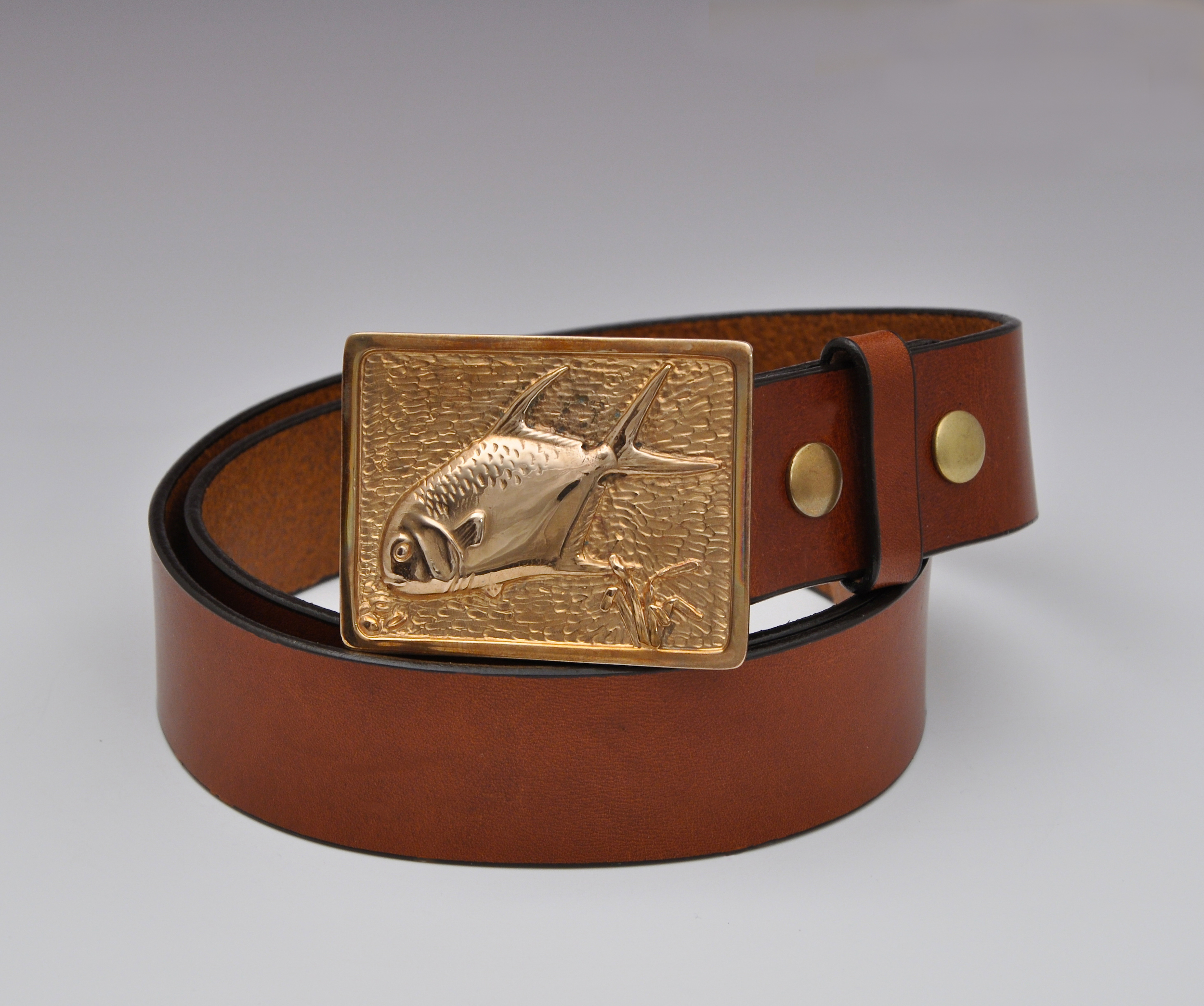 Bronze Permit Tailing Buckle with Chestnut Bridle Leather Belt