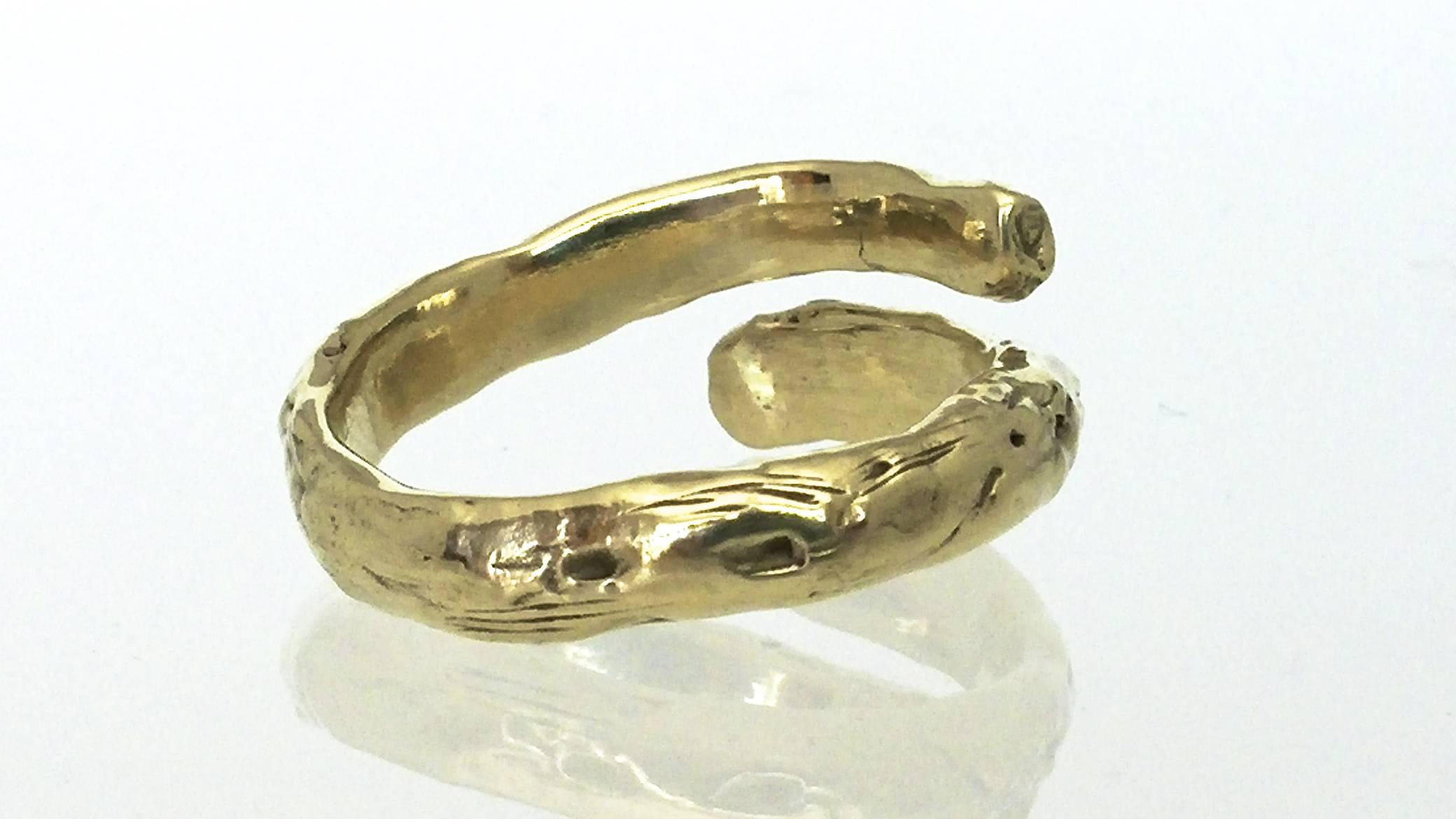 Custom 14K Yellow Gold, Twig Thumb Ring