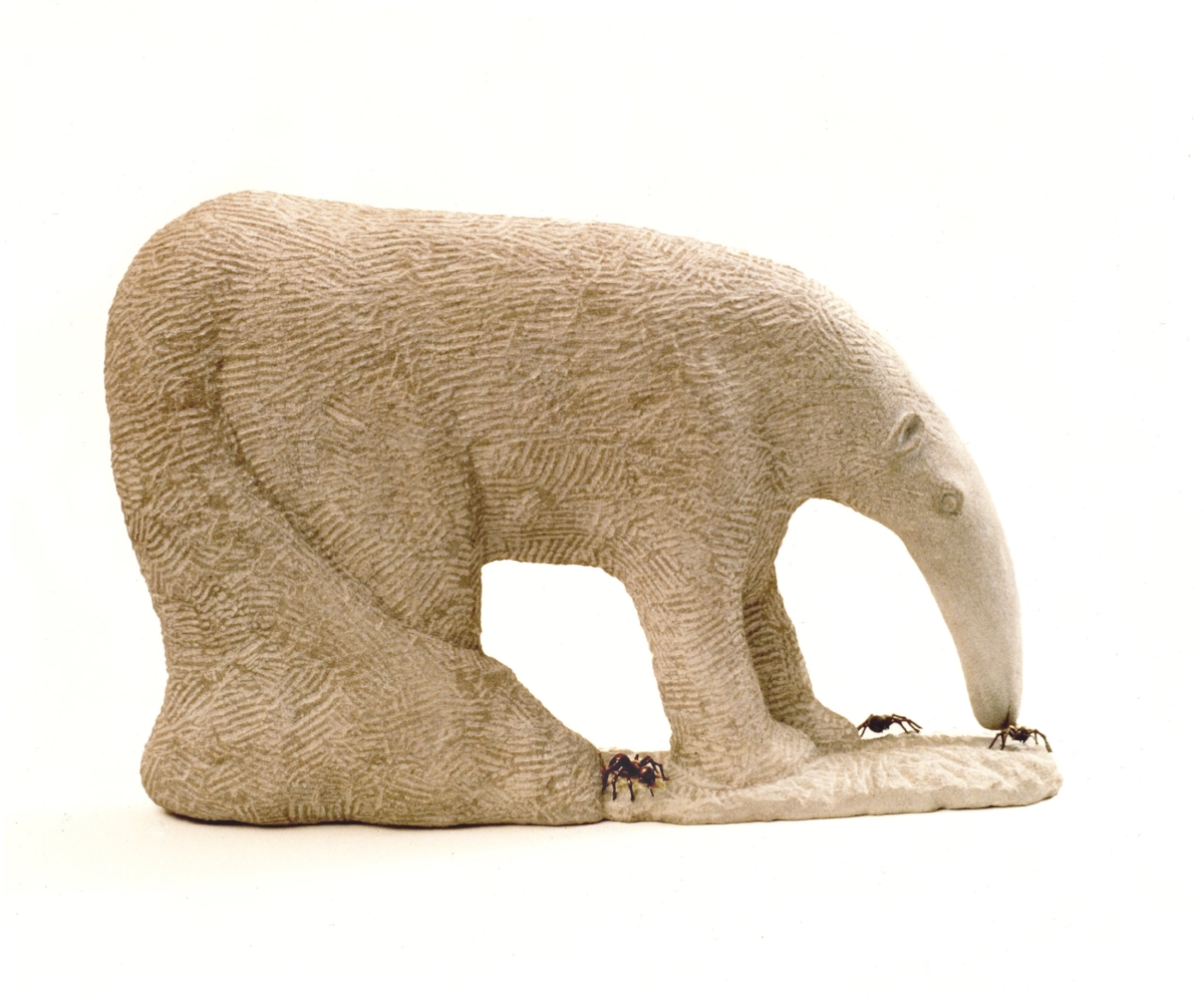 Anteater and Ants Sculpture - Limestone and Bronze