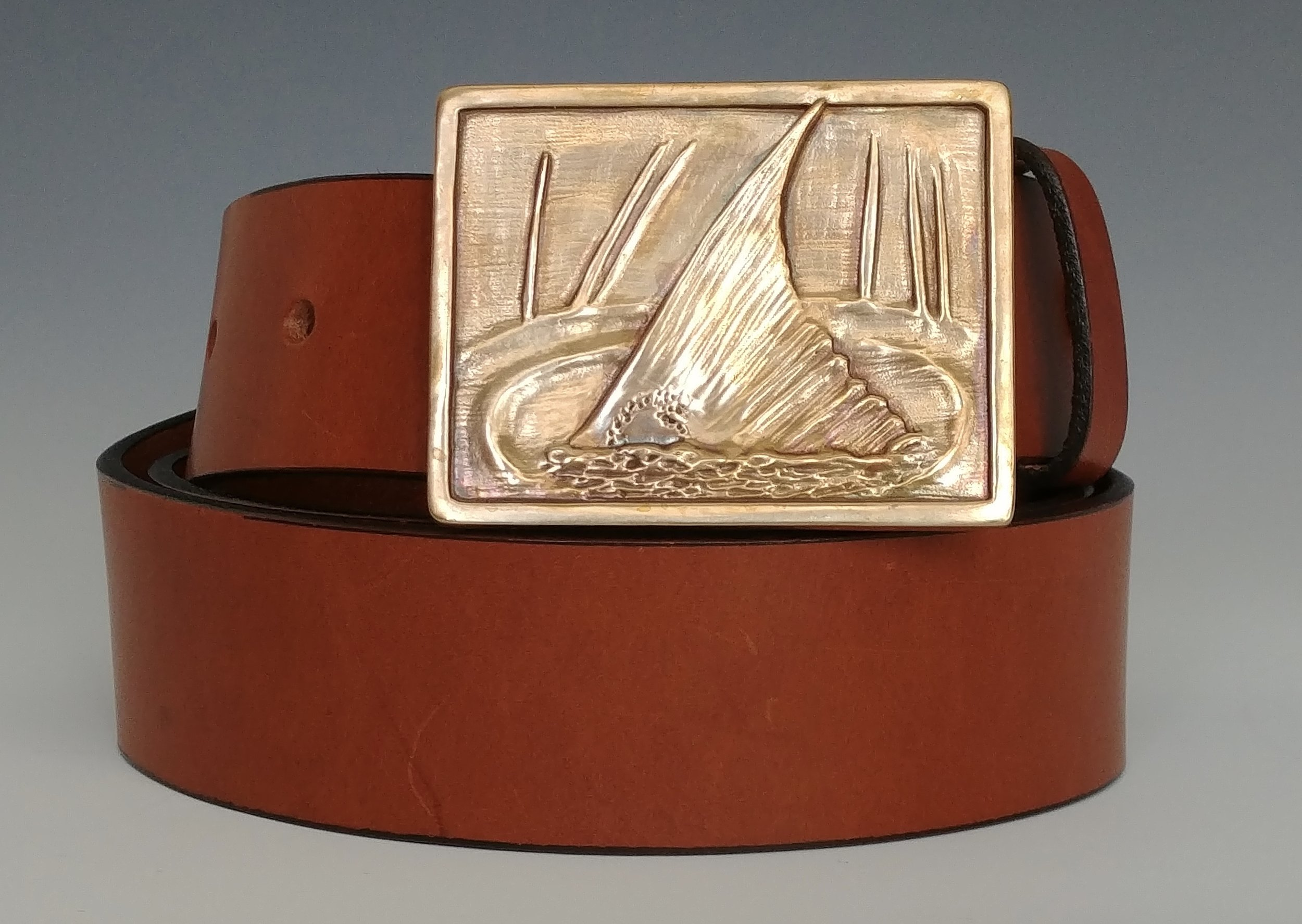 Bronze Redfish Buckle with Hand crafted, Chestnut Leather Strap
