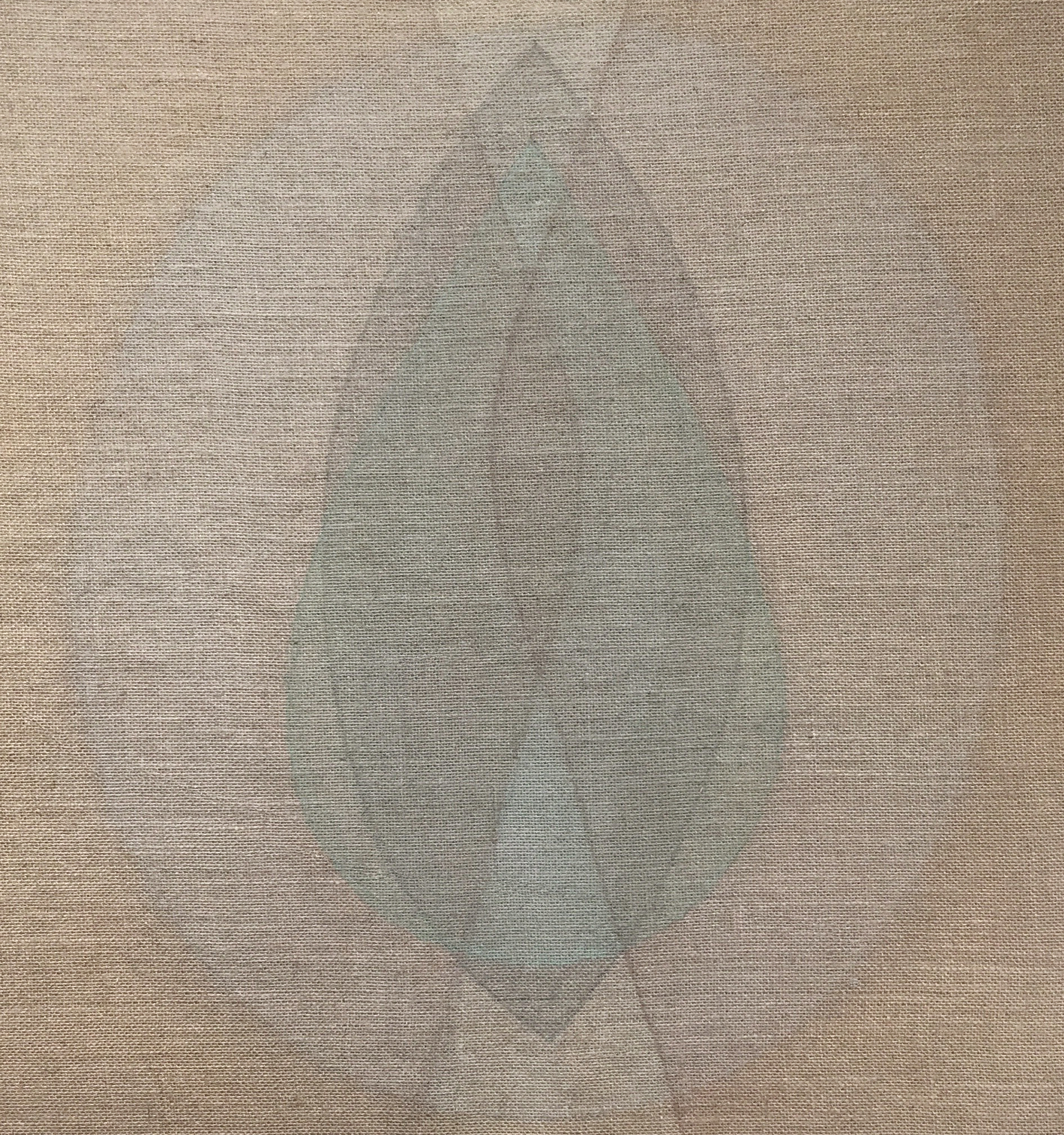 Seed green-red , 2018, Ash, green earth and devon mud on burlap, 31 x 29 in (79 x 74 cm)
