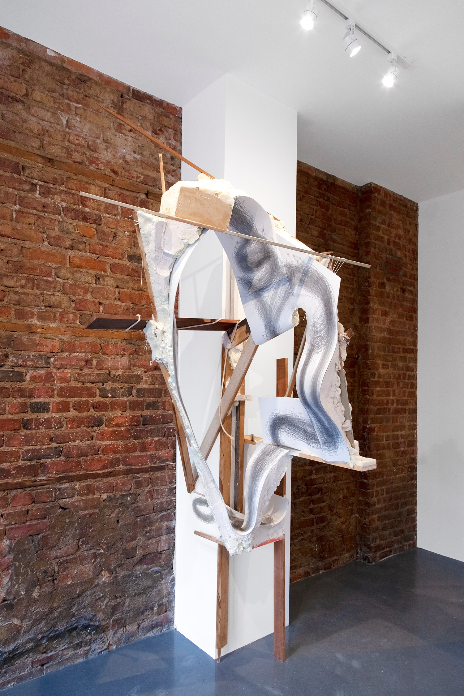 Supporting a continued gesture towards expanding sanctuary , 2019, Performance with graphite on paper and mixed media (reclaimed wood, rope, plaster, foam and aluminum), 90 x 42 x 40 in (228.6 x 106.7 x 101.6 cm)