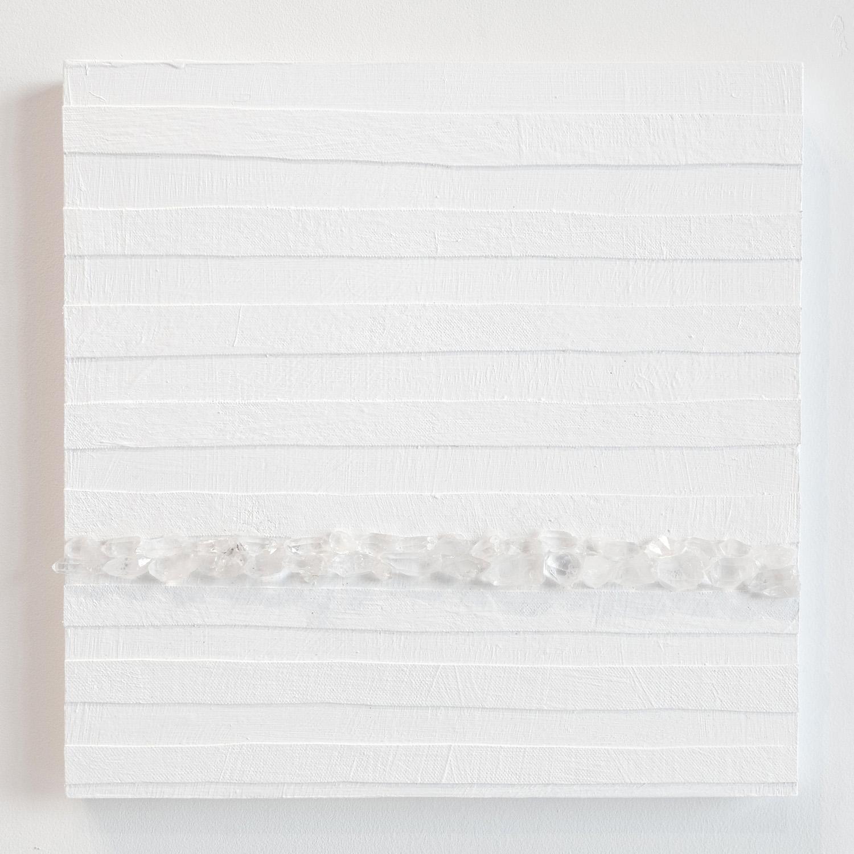 Crystal Cut Levitation #2 , 2019, Quartz crystal, acrylic and linen on wood panel 12 x 12 in (30.48 x 30.48 cm)