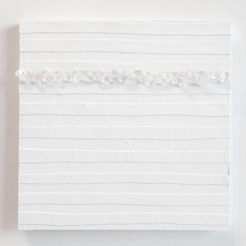 Crystal Cut Levitation #4 , 2019, Quartz crystal, acrylic and linen on wood panel 12 x 12 in (30.48 x 30.48 cm)