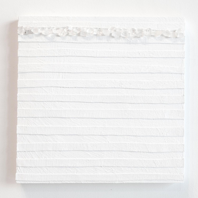 Crystal Cut Levitation #5 , 2019, Quartz crystal, acrylic and linen on wood panel 12 x 12 in (30.48 x 30.48 cm)