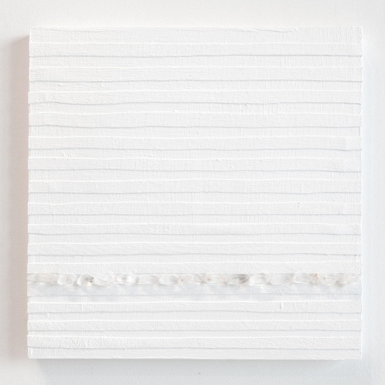 Crystal Cut Levitation #7 , 2019, Quartz crystal, acrylic and linen on wood panel 12 x 12 in (30.48 x 30.48 cm)