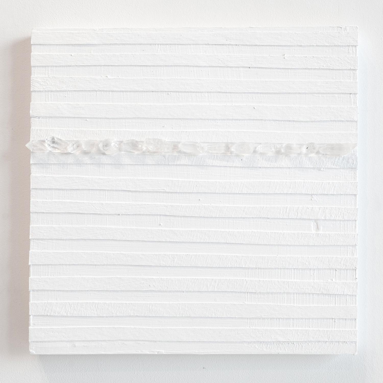 Crystal Cut Levitation #9, 2019, Quartz crystal, acrylic and linen on wood panel 12 x 12 in (30.48 x 30.48 cm)