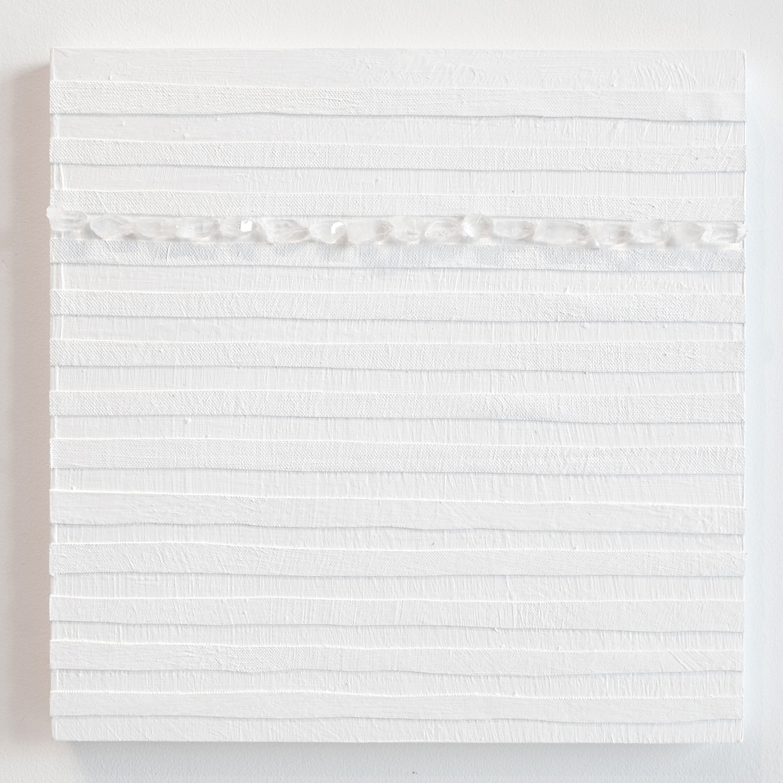 Crystal Cut Levitation #14 , 2019, Quartz crystal, acrylic and linen on wood panel 12 x 12 in (30.48 x 30.48 cm)