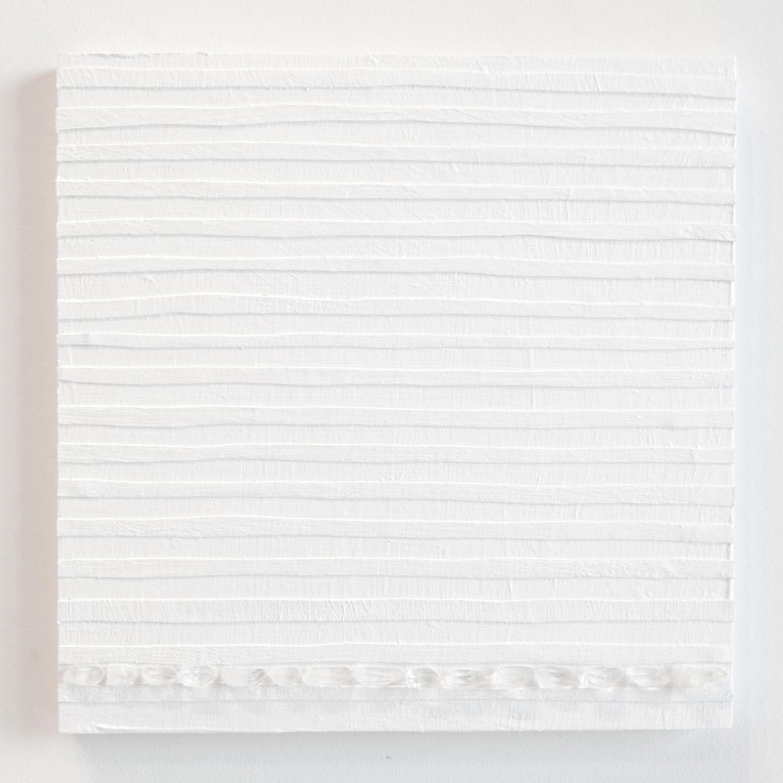 Crystal Cut Levitation #16 , 2019, Quartz crystal, acrylic and linen on wood panel 12 x 12 in (30.48 x 30.48 cm)