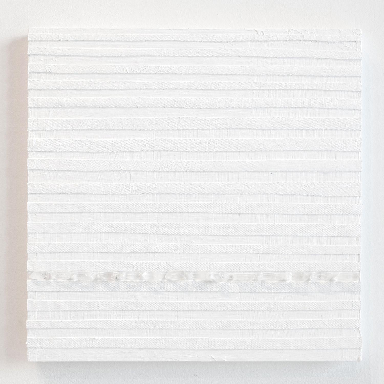 Crystal Cut Levitation #17 , 2019, Quartz crystal, acrylic and linen on wood panel 12 x 12 in (30.48 x 30.48 cm)