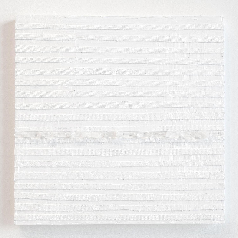 Crystal Cut Levitation #18 , 2019, Quartz crystal, acrylic and linen on wood panel 12 x 12 in (30.48 x 30.48 cm)