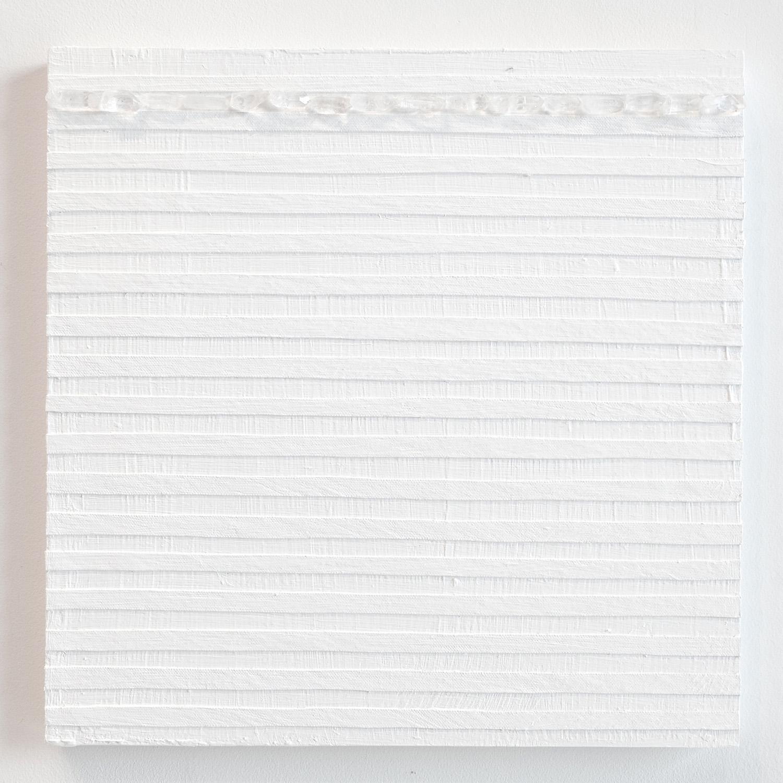 Crystal Cut Levitation #20 , 2019, Quartz crystal, acrylic and linen on wood panel 12 x 12 in (30.48 x 30.48 cm)