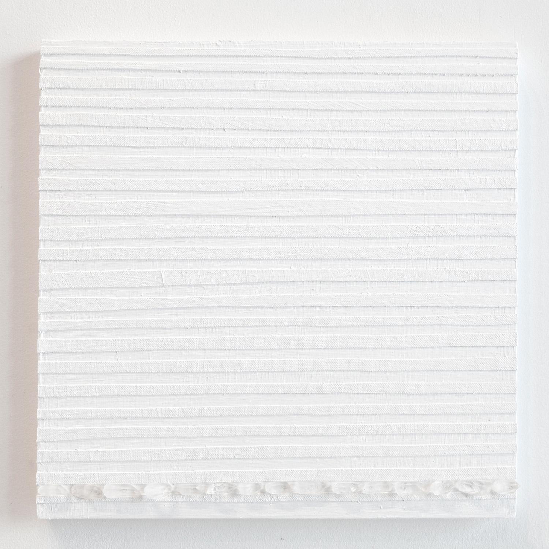 Crystal Cut Levitation #21,  2019, Quartz crystal, acrylic and linen on wood panel 12 x 12 in (30.48 x 30.48 cm)