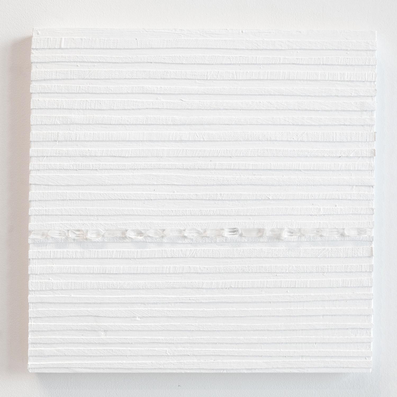 Crystal Cut Levitation #22 , 2019, Quartz crystal, acrylic and linen on wood panel 12 x 12 in (30.48 x 30.48 cm)