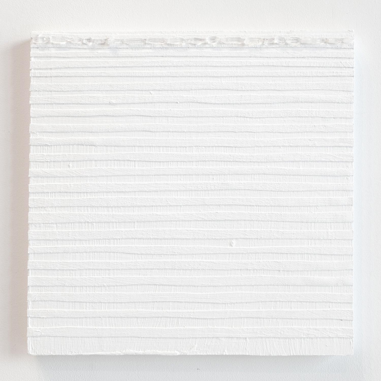 Crystal Cut Levitation #25 , 2019, Quartz crystal, acrylic and linen on wood panel 12 x 12 in (30.48 x 30.48 cm)