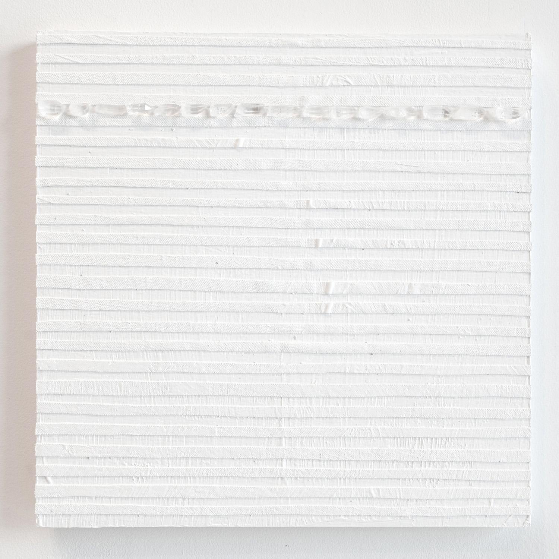 Crystal Cut Levitation #29 , 2019, Quartz crystal, acrylic and linen on wood panel 12 x 12 in (30.48 x 30.48 cm)