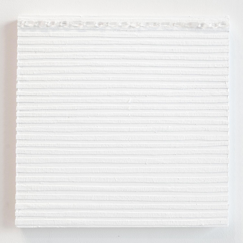 Crystal Cut Levitation #30 , 2019, Quartz crystal, acrylic and linen on wood panel 12 x 12 in (30.48 x 30.48 cm)