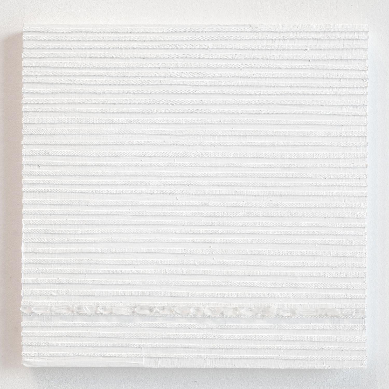 Crystal Cut Levitation #32 , 2019, Quartz crystal, acrylic and linen on wood panel 12 x 12 in (30.48 x 30.48 cm)