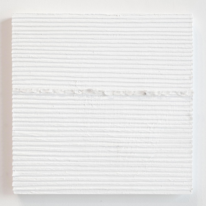 Crystal Cut Levitation #33 , 2019, Quartz crystal, acrylic and linen on wood panel 12 x 12 in (30.48 x 30.48 cm)