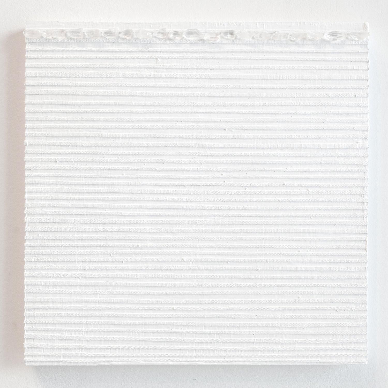 Crystal Cut Levitation #35 , 2019, Quartz crystal, acrylic and linen on wood panel 12 x 12 in (30.48 x 30.48 cm)