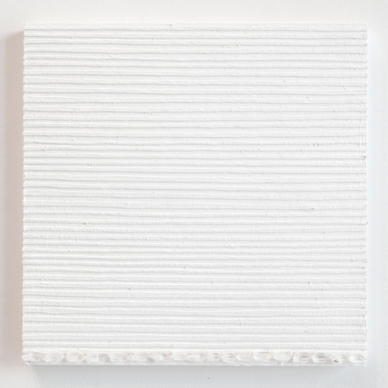 Crystal Cut Levitation #36 , 2019, Quartz crystal, acrylic and linen on wood panel 12 x 12 in (30.48 x 30.48 cm)