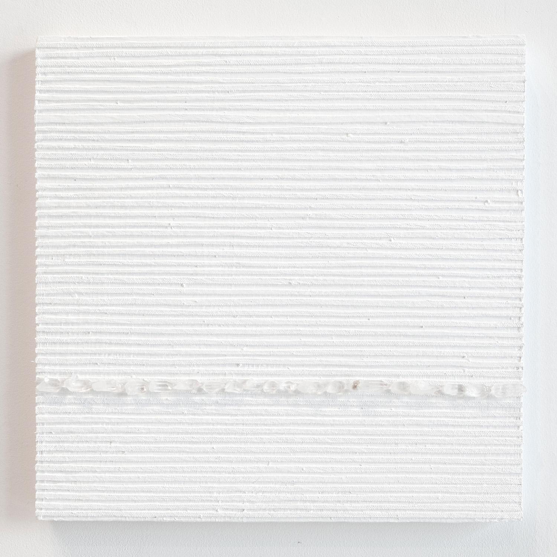 Crystal Cut Levitation #37 , 2019, Quartz crystal, acrylic and linen on wood panel 12 x 12 in (30.48 x 30.48 cm)
