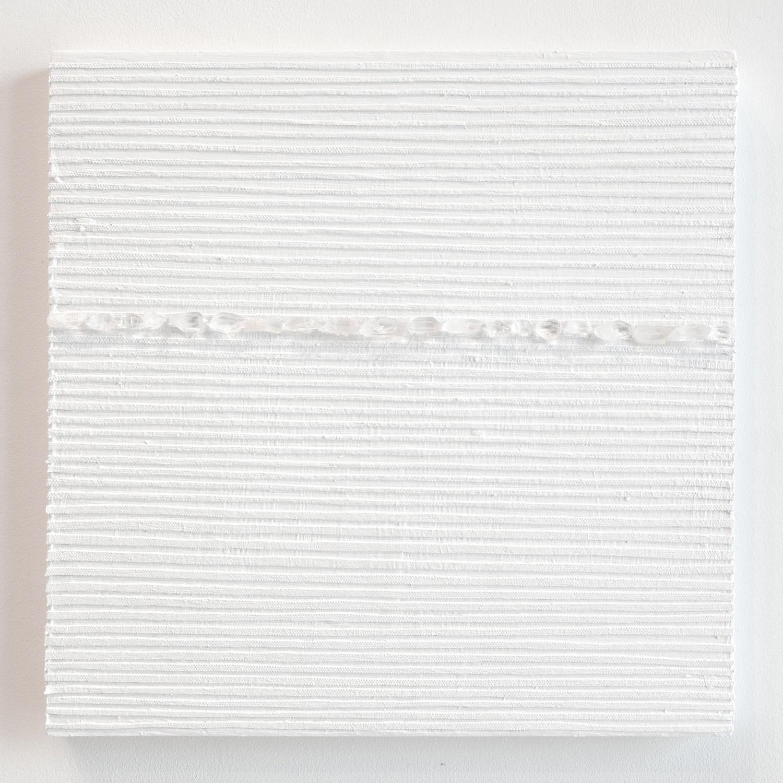 Crystal Cut Levitation #38 , 2019, Quartz crystal, acrylic and linen on wood panel 12 x 12 in (30.48 x 30.48 cm)