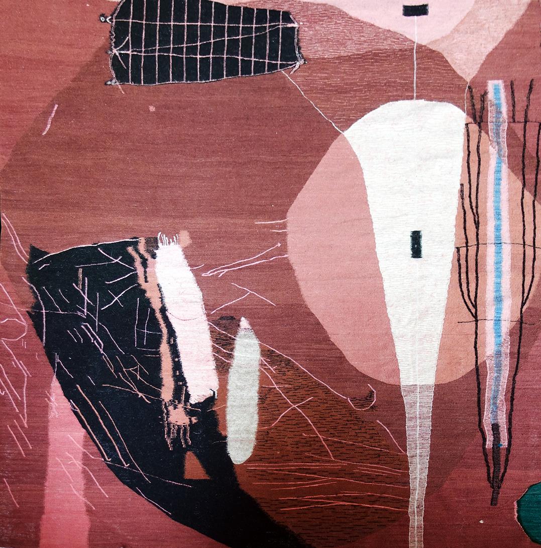 Sarah Entwistle,  Endless little carrots and frail sticks  (detail), 2019, handwoven wool, 78.74 x 78.74 inches (200cm x 200cm)