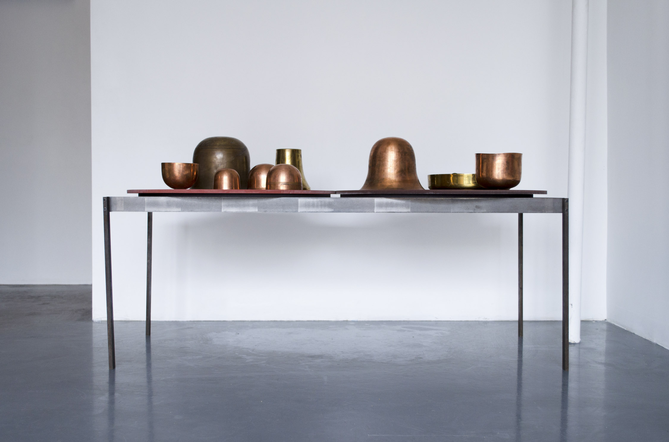Sarah Entwistle,  WATER. METAL.ENAMEL.PLANTS + VERDANT + LIGHT   with Copper Sprung Vessels, 2019, Untreated milled steel, Base: 47.63 x 17.88 x 20.25 in (121 x 45.4 x 51.4 cm)