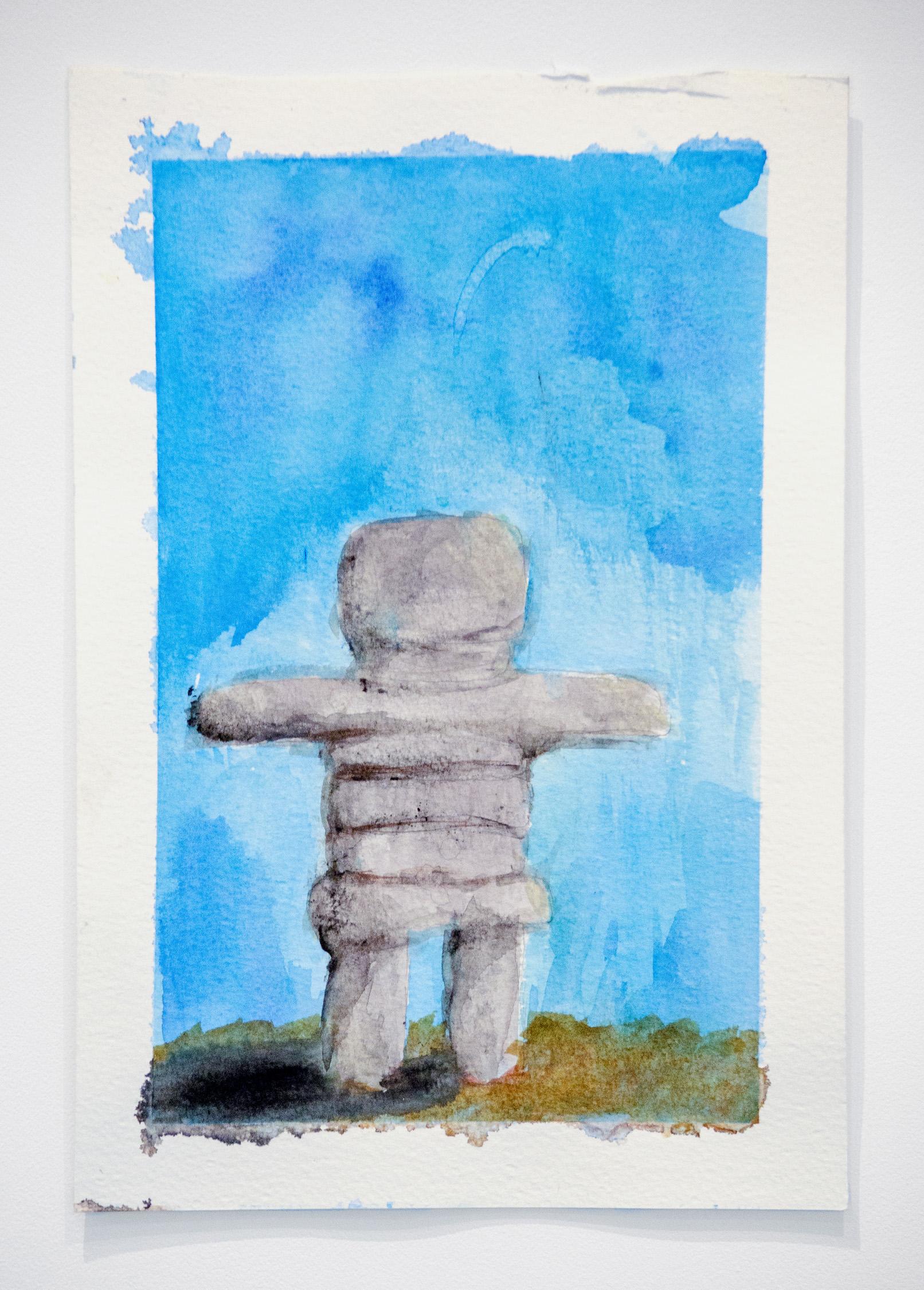 Alexia D'Monte   Rockman,  2019 Watercolor on paper 10.5 x 7 inches (26.5 x 17.5 cm)  Starting bid: $20