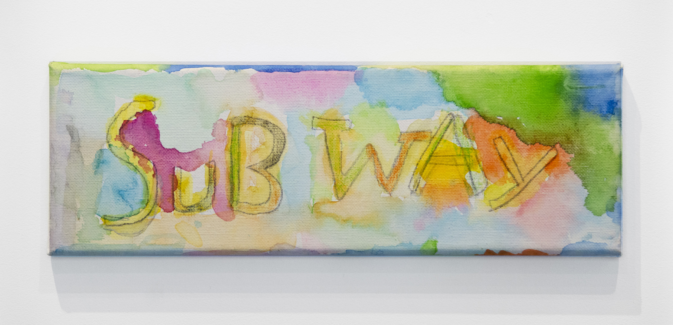 Hudson DeNike Palmer   Subway , 2019 Watercolor and pencil on canvas 4 x 12 inches (10.16 x 30.5 cm)  Starting bid: $20