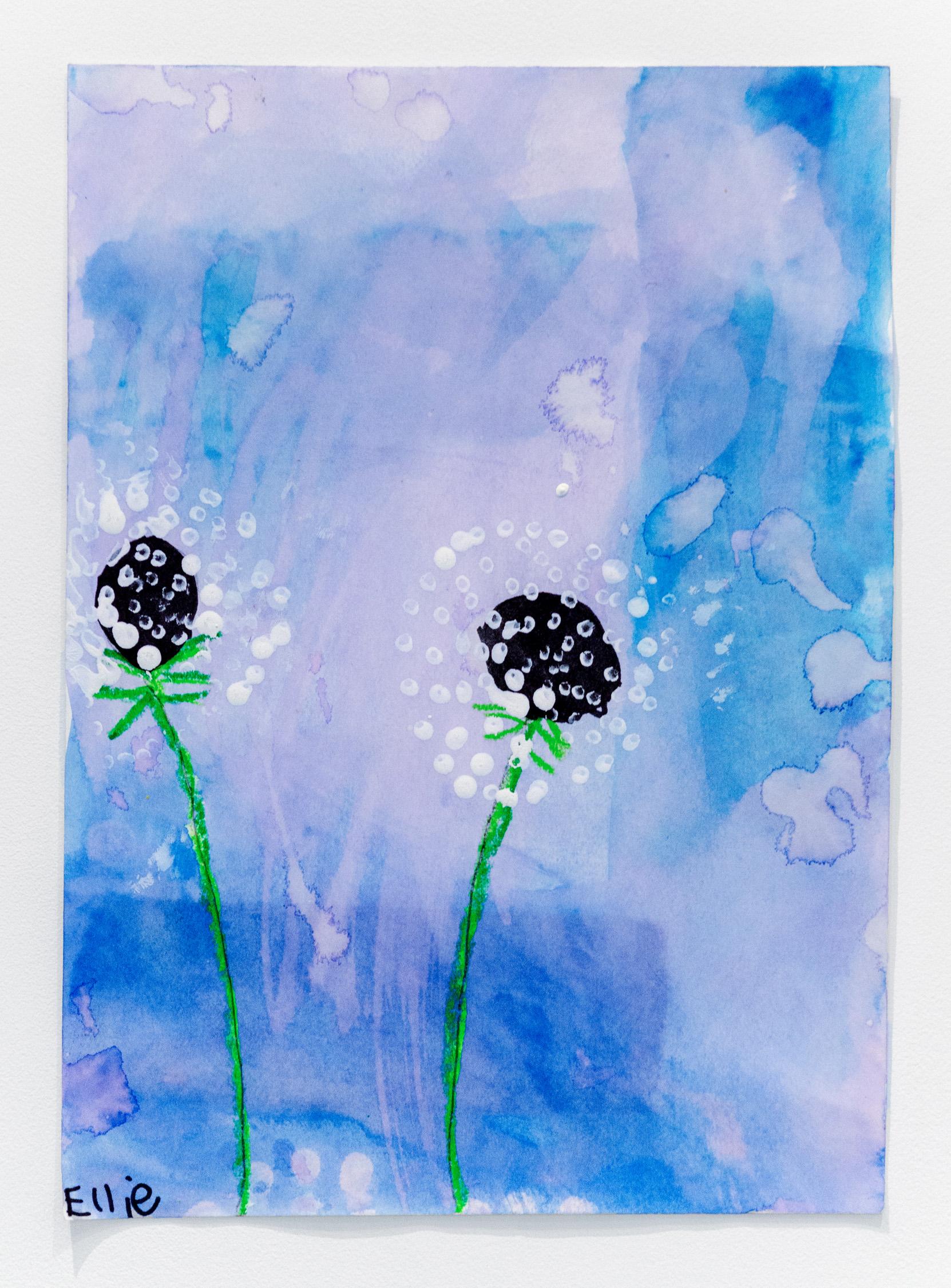 Ellie Rosenblatt   Dandelion Bloom , 2019 Watercolor, pastel and pencil on paper 11.25 x 8.25 inches (28.5 x 21.5 cm)  Starting bid: $20