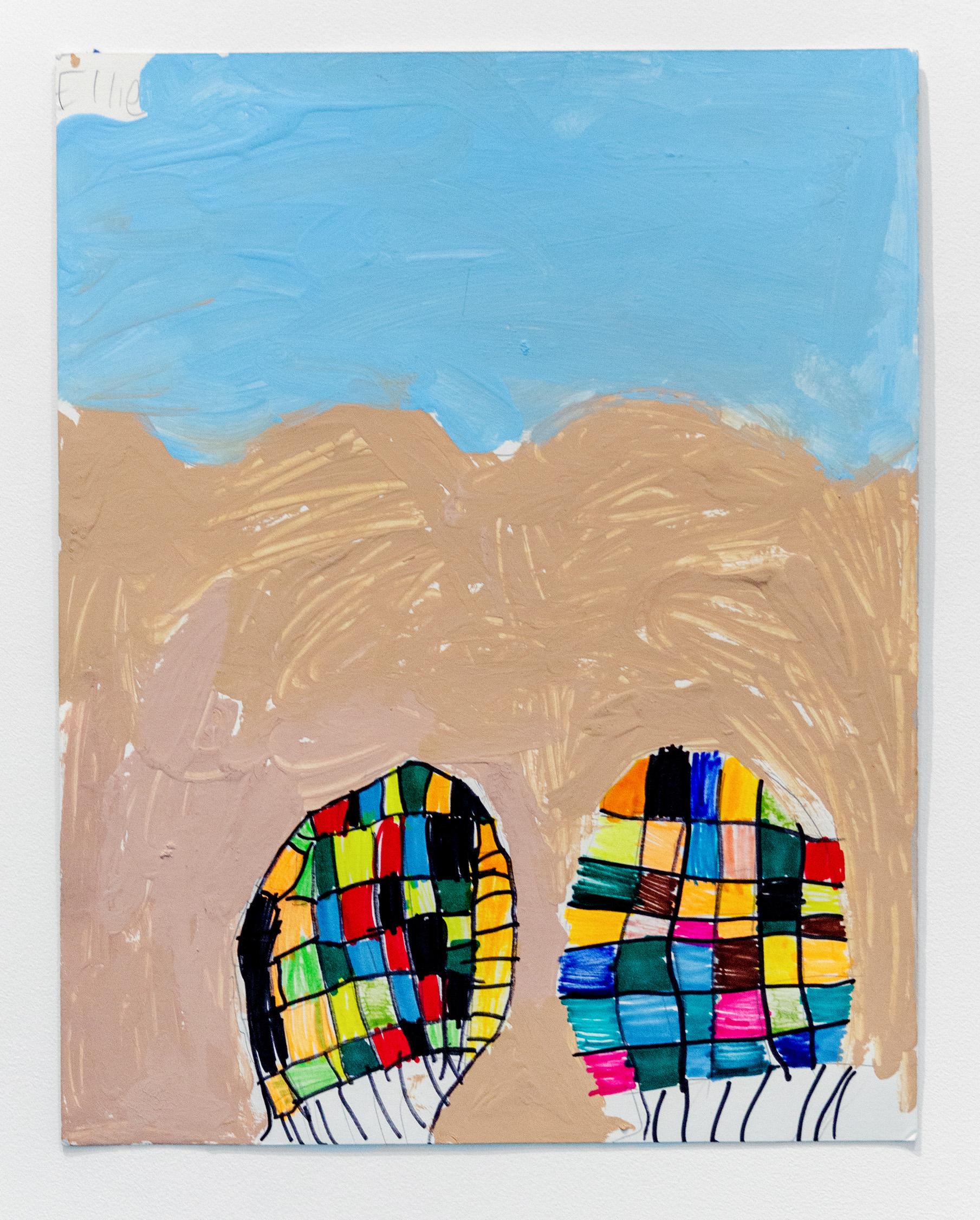 Ellie Rosenblatt   Feet on the Beach , 2019 Acrylic, marker and pencil on paper 14 x 11 inches (35.5 x 28 cm)  Starting bid: $20