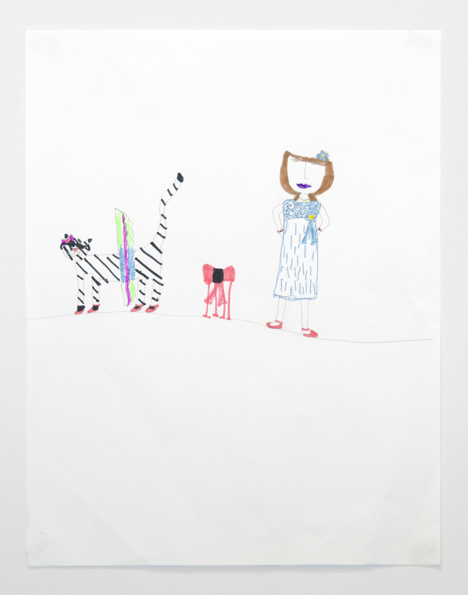 Adelae DeNike Palmer   Me and that Cat , 2019 Marker and pencil on paper 11.25 x 8.5 inches (28.5 x 21.5 cm)  Starting bid: $20