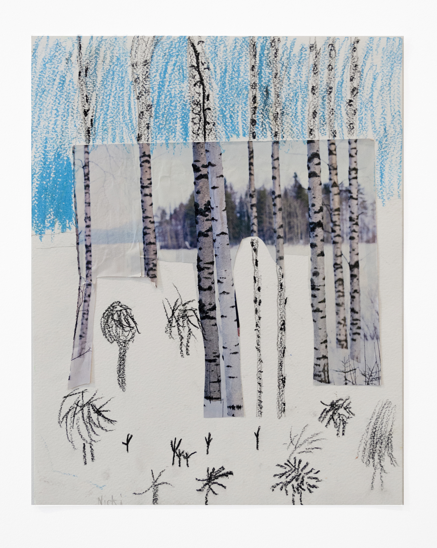 Nicola Remmel   Birch Trees , 2018 Collage and watercolor on paper 14 x 11 inches (35.56 x 27.94 cm)  Starting bid: $20