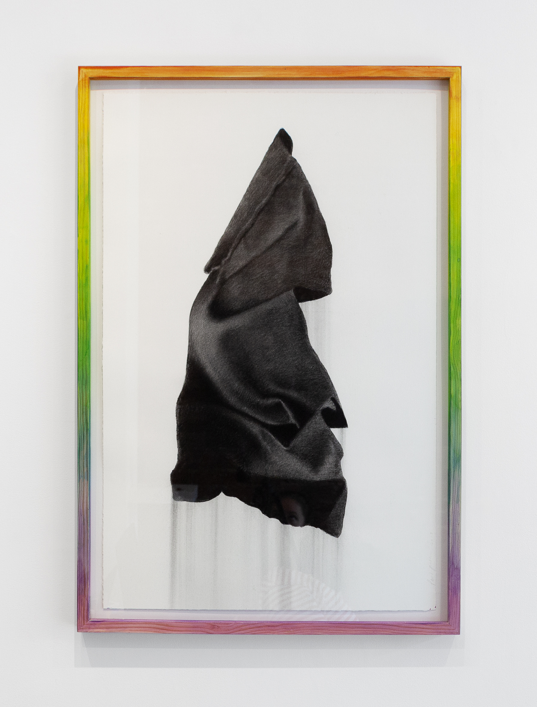 Paul Jacobsen,  Black Flag, Rainbow Frame , 2019, Charcoal on paper, hand dyed artist frame, 24 x 36 inches (60.96 x 91.44 cm)