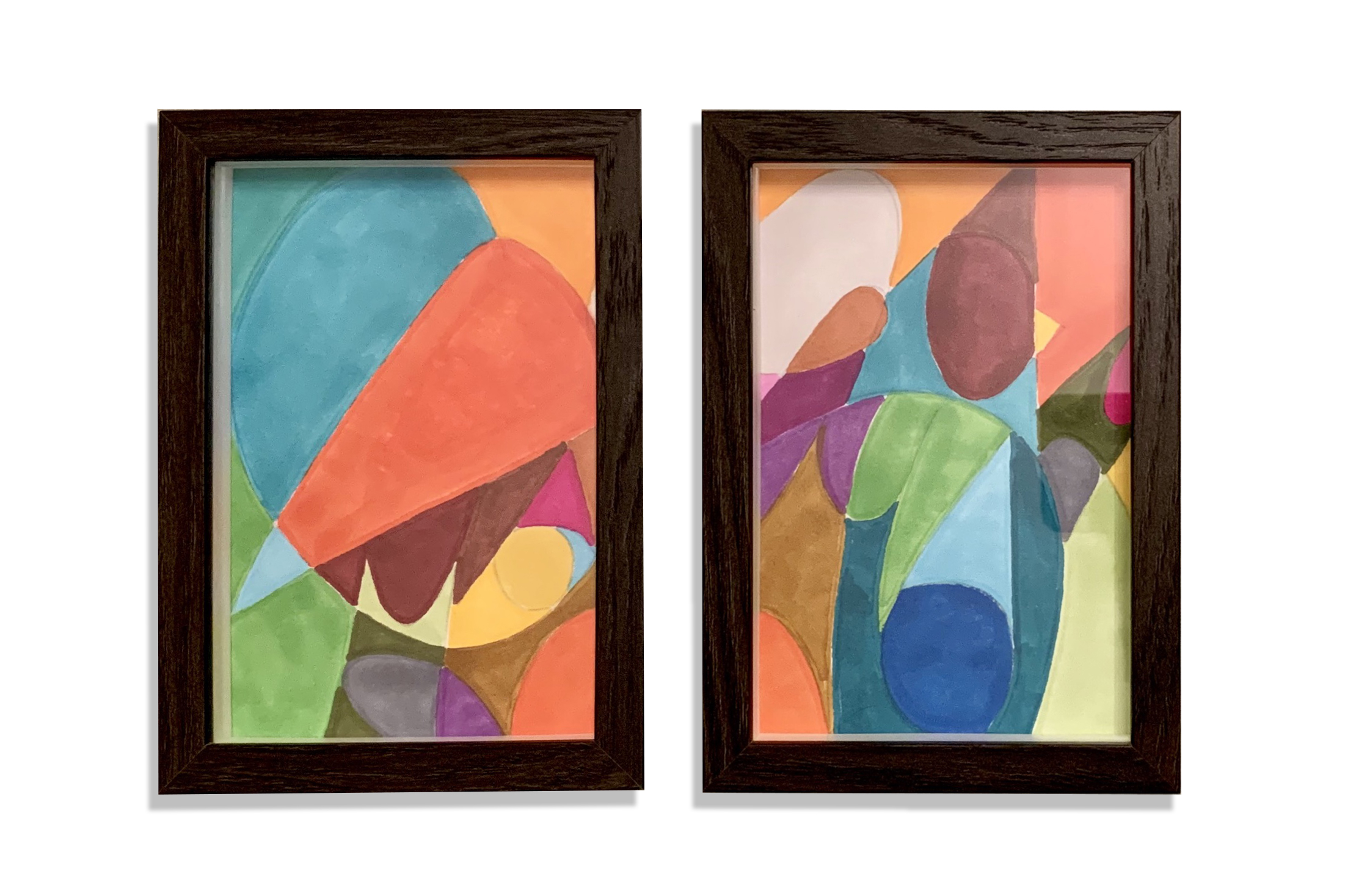 Stavro, Untitled diptych, 2019, Marker on paper, 4 x 6 inches framed each (10.16 x 15.24 cm)