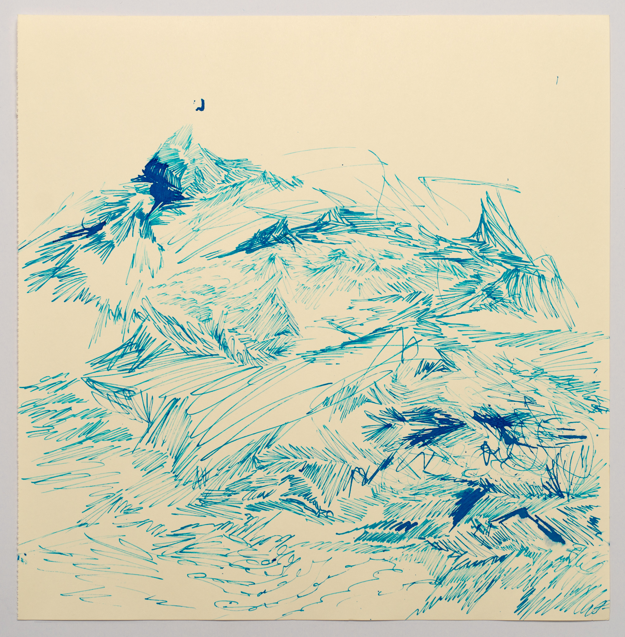 Laleh Khorramian,  Peaks 37 , 2019, Ink on paper, 12.5 x 12.75 inches (31.75 x 32.39 cm)