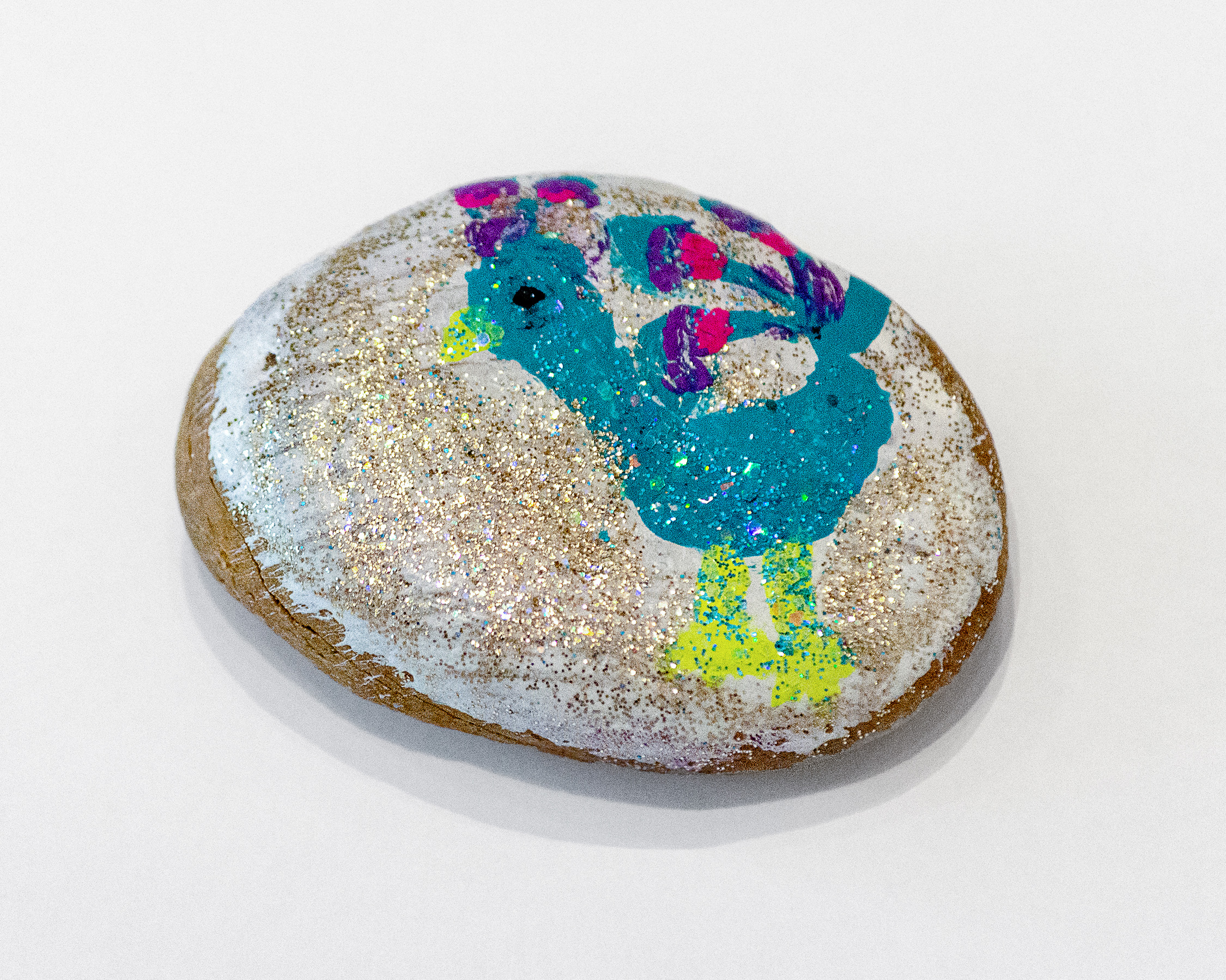 Adelae DeNike Palmer,    Mrs. Peacock , 2019, Acrylic and glitter on stone, 2.5 x 2 x 1 inches (6.5 x 5 x 2.5 cm)