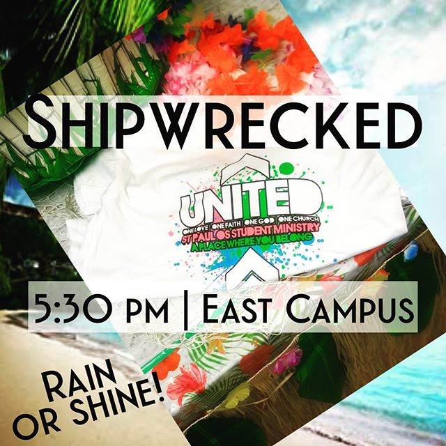 "🚨SHIPWRECKED PARTY!! Rain ☔️ or Shine ☀️ 5:30 pm | TONIGHT  St. Paul East Campus  Burgers 🍔 & Dogs  GIANT banana split 🍨🍌🍡 CRAZY games  The Impossible Shot Winner! Friends & FUN!! Throw on something shipwrecked theme: island 🌴 , pirate🏴‍☠️ , luau 🌺, fishing 🎣, cast away ⛈Anything ""SHIPWRECKED"" and be there!! 🌴🌊🐠🦞"