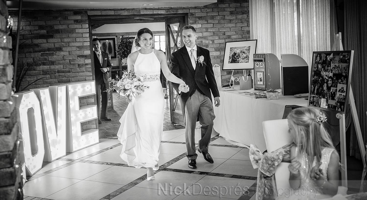 Danielle's dad was celebrating his birthday on his daughter's wedding day! He made a grand entrance himself after the couple.