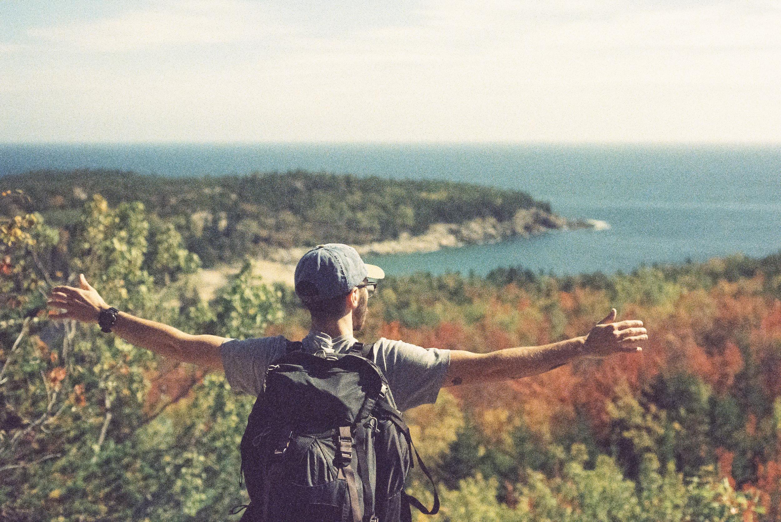 Stephen looking over Acadia. [Nikon F3 / 50 / Kodak Elite Chrome (expired)]