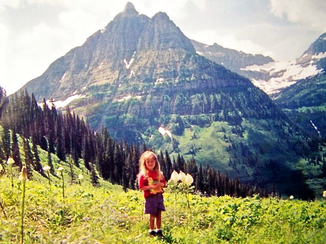 One of my favorite photos of one of my favorite travel companions -with beargrass and Bird Woman Falls - Glacier National Park, Mt '95 or so.