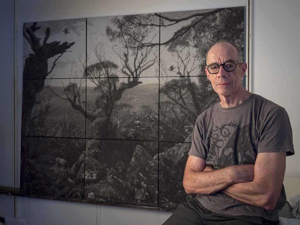 Nigel Hewitt in front his work  Ghosts on the Tarn Shelf,  Photograph by Bewley Shaylor