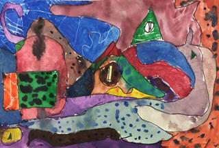 Abstract watercolor painting. Grade 7