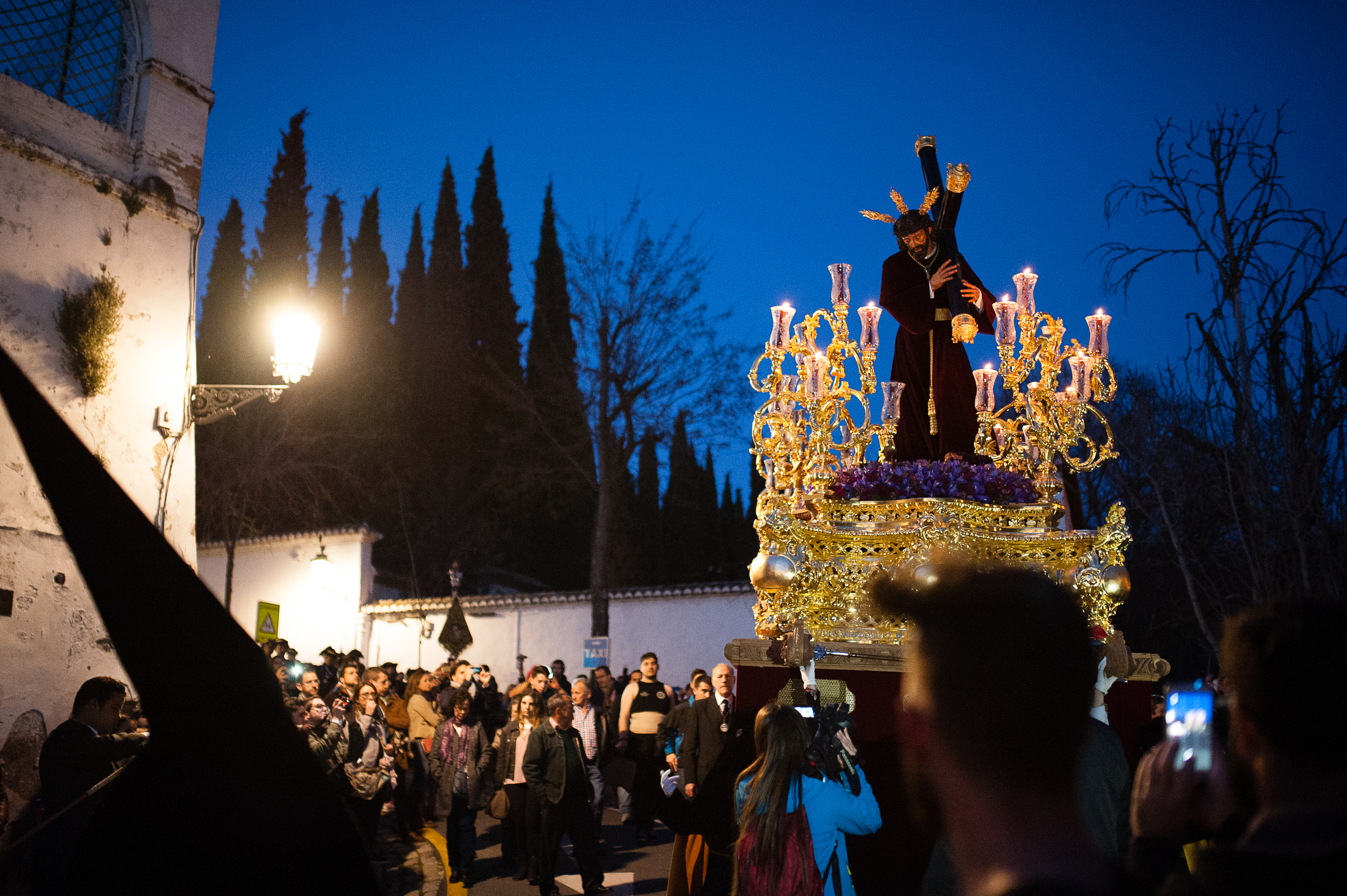 Gorgeous  pasos of Christ carrying the cross. Each float is a different stage in the passion and originates at different cathedrals, churches, or brotherhoods throughout the city.