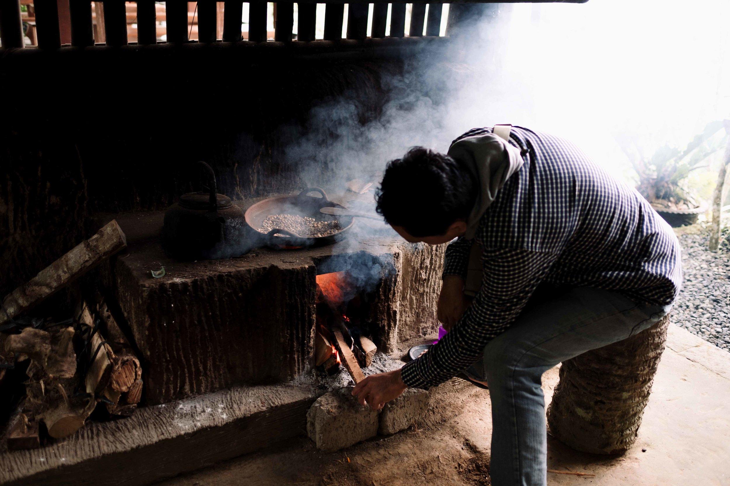 roasting Luwak (animal processed) coffee