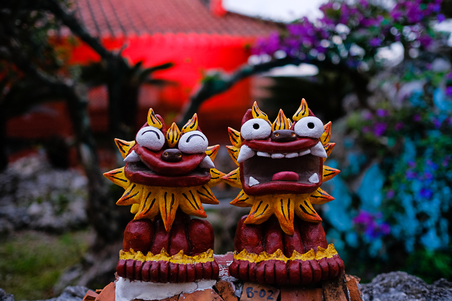 various Shisa dogs greet you - Okinawan Shisa are always in pairs, with one open mouthed and one closed, to keep good fortune in and scare bad fortune away...